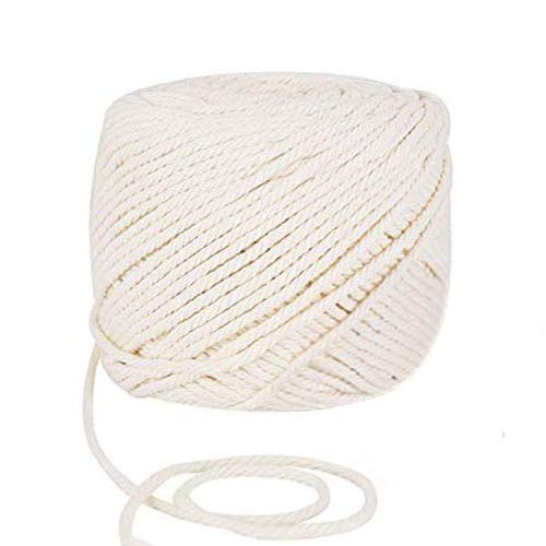 Colmanda Macrame Cuerda, cuerda de algodón natural Cuerda de macramé Cordel de Algodón para Envolver Regalo, Manualidades, Costura, DIY Artesanía, Decoración Bohemia (2mm200m)