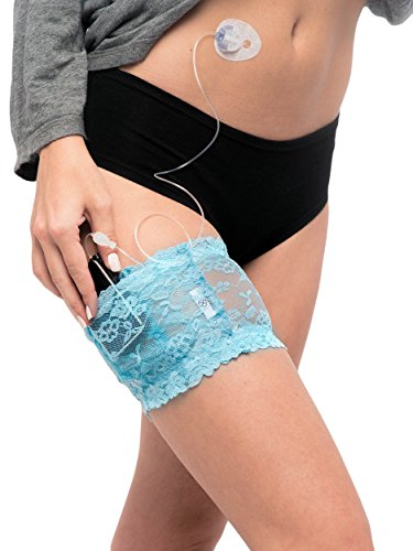 Lingerie-Quality Stretch Lace Garter for Insulin Pump (Baby Blue, S)