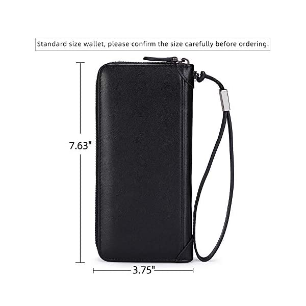 Women Leather Wallet Rfid Blocking Large Capacity Zipper Around Travel Wristlet Bags 3