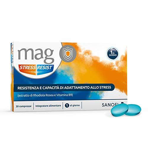 Mag Stress Resist Integratore Alimentare contro Stress e Stanchezza Mentale a Base di Rhodiola Rosea, Magnesio, Vitamina B9 e B6, 30 Compresse