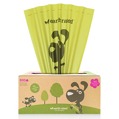 Earth Rated Dog Poop Bags Value Pack, 600 Dog Waste Bags On A Large Single Roll, Grab & Go, Guaranteed Leak-Proof, Lavender-Scented, Great for Backyard Pickups, Each Poop Bag Measures 8 x 13