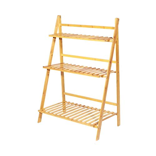 HJ Le meilleur choix des produits à 3 niveaux Intérieur Extérieur Portable pliant multi-usage en bois rustique fleur Cache-pot Display Stand (Size : Long 70cm)