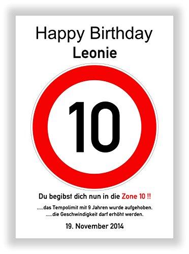 Kunstdruck Verkehrsschild Bild 10. Geburtstag Geschenkidee Geschenk zum Geburtstag