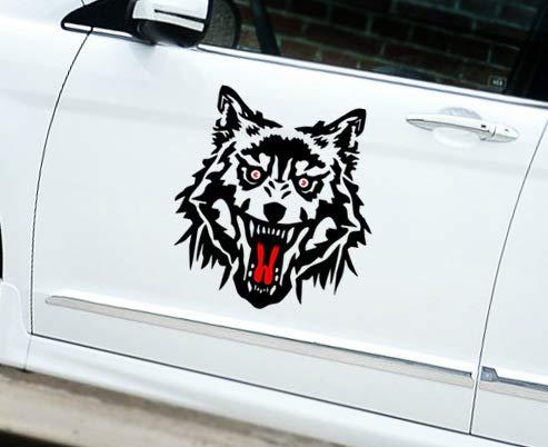 T-JPCT Autocollants côté Voiture Tête de Loups Autocollants de Voiture réfléchissants Moteur Autocollants Corps Autocollants Moto Tirer Fleur Autocollants personnalisés de Voiture Fleur, 30cm