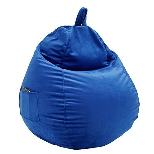Sitzsack Sitzkissen Bodenkissen Kissen Sessel BeanBag EPS Perlen Füllung Bean Bag mit Seitlichen Taschen Chair Bodenkissen für Kinder und Erwachsene Game Möbel Kissen Indoor und Outdoor (Blau, Groß)