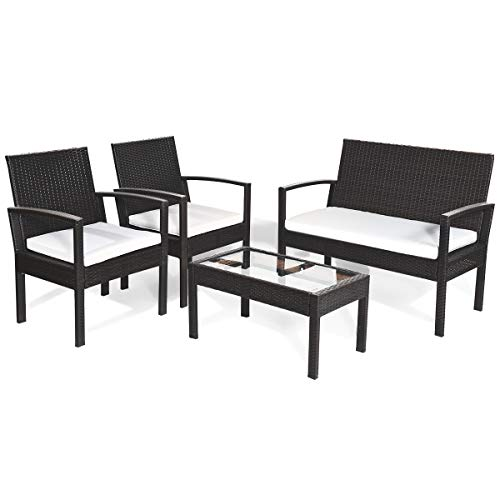 HAPPYGRILL 4PCS Patio Furniture Set, Outdoor Rattan Sofa Set, Backyard Porch Garden Poolside Balcony Furniture, Cushioned Seat and Coffee Table