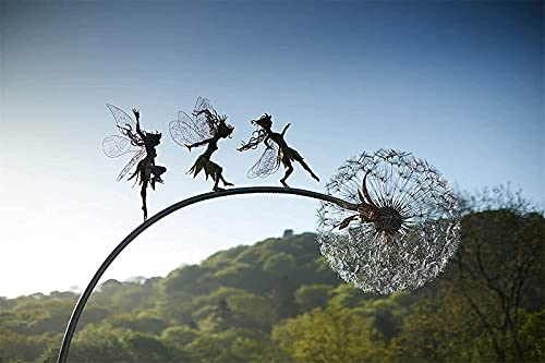 ZGHYBD Fairies and Dandelions Dance Together Yard Decorations,In Dark Metal Yard Art,Creative Garden Outside Decor Statue Suitable, for Indoor Outdoor Lawn Pathway Patio Ornaments (C)