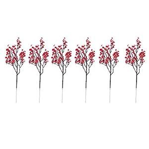 Silk Flower Arrangements EXCEART 6 Pcs Artificial Gypsophila Flowers Babies Breath Flowers Red Gypsophila Decoration for DIY Christmas Home Floral Arrangement Decor