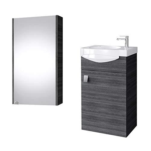 Planetmöbel Badmöbel Set Gäste WC Waschtischunterschrank Keramikwaschbecken Spiegelschrank Anthrazit