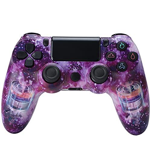 QLOVE Controller für PS4, Rutschfestem Griff und LED-Anzeige, Gamepad mit Gyroskopsensor mit 6-Achsen-Erkennungsfunktion, Wireless Controller für Playstation 4,Purple Sky