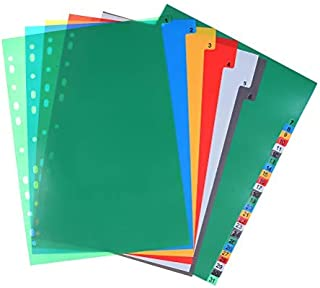 Extra Wide Index Dividers Extended Insert Indexes Binder Tab Insertable Dividers Plastic Document Organisers - Assorted Color 6-Tab, Number, 31 Pieces (11.4 x 8.6 Inches)