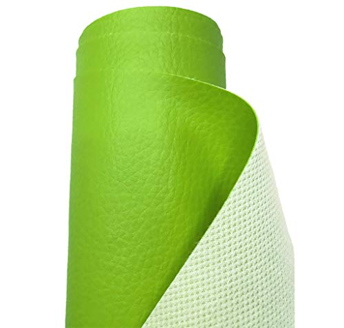 A-Express Tela de Grano de Cuero de Imitación Material Texturizado por Polipiel Vinilo Cojines Bolso - Verde Medio Metro 50cm x 140cm