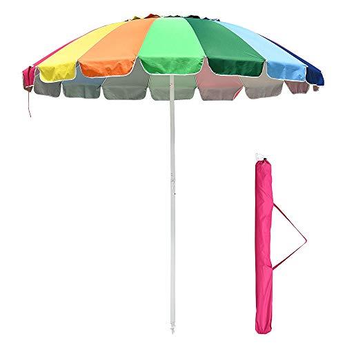 Yescom 8 ft Metal Rainbow Beach Patio Umbrella 16 Rib Tilt Market Table Umbrella Outdoor Sunshade Cover Sand Anchor