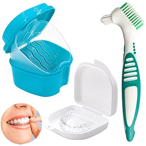 Caja de almacenamiento de dentaduras postizas,soporte de dentaduras postizas,juego de dentaduras postizas con caja de limpieza y cepillo,para limpieza de dientes(Cepillo de dientes verde)