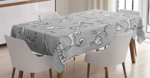 ABAKUHAUS Gris Mantele, Gatito Gato de la Historieta, Fácil de Limpiar Colores Firmes y Durables Lavable Personalizado, 140 x 200 cm, Blanco