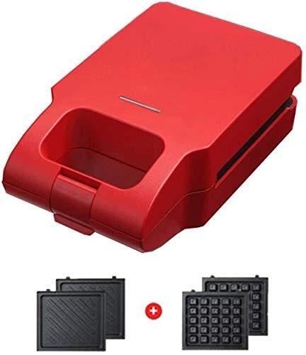 Gaufrier Gaufrier - Machine à sandwich Revêtement antiadhésif Chauffage automatique Chauffage double face épais Facile à nettoyer avec deux plaques plaques amovibles pour gaufrier (Couleur: rouge)