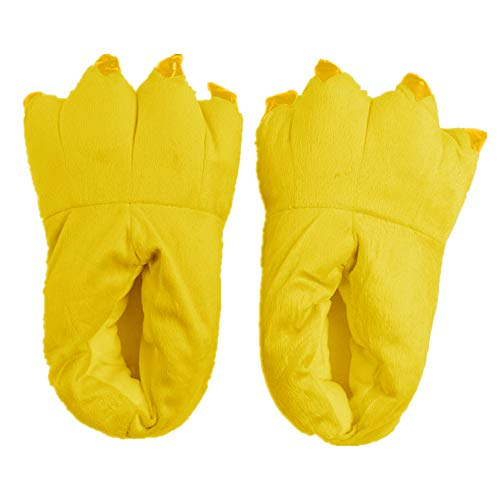 Japsom Unisex Cozy Flannel House Monster Slippers Halloween Animal Costume Paw Claw Shoes Yellow L