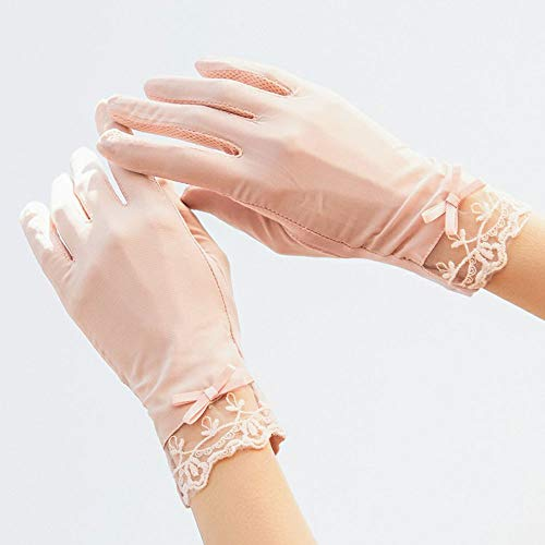 ROIY Sommer Im Freien Sonnenschutz Fahren Elastische rutschfeste Touchscreen-Handschuhe Damen Baumwolle Dünnschliff Anti-UV-EIS Seidenhandschuhe Outdoor Reiten Sonnenschutzhandschuhe (Color : Beige)
