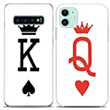Cavka TPU Couple Cases for Samsung Galaxy Note 10 Plus 5G S10 A50 A10e S7 S8 King Queen Card Minimal White Gift Anniversary Clear Flexible Her Him Silicone Cover Cute Print Matching Girlfriend Women