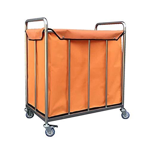 CENPEN Servierwagen Haushaltsartikel aus Heavy-Duty-Wäsche Sorter Wagen mit Rädern, Tragbarer Hotel Lobby Rollen Leinen Wagen mit Removable Storage Bag (Farbe: Orange, Größe: 80 × 50 × 88cm)