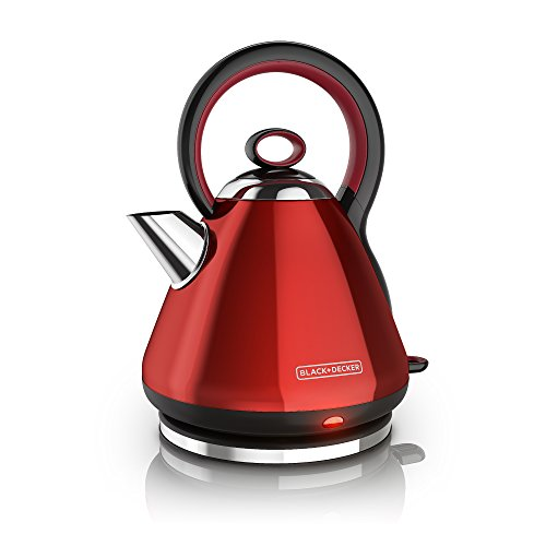 BLACK+DECKER Electric Kettle, Cordless Tea Kettle, Red Stainless Steel, 1.7L, KE2900RC
