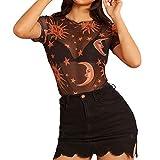 Lazzboy Mesh Crop Top/Camicetta Donna Trasparente Trasparente/Pizzo Sexy Camicetta Club Party, Tanti Stili(40,Arancione-Sun Face)