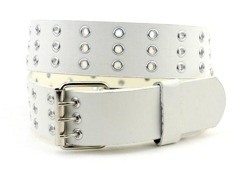 NYFASHION101 Merveilleuse ceinture unisexe en cuir véritable à trois trous encerclés de métal. Classique et intemporelle, cette ceinture se porte au q