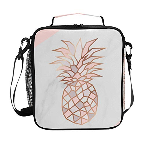 Lunch Box for Girls Cooler Insulated Lunch Tote Bag with Shoulder Strap for School Rose Gold Marble Pineapple