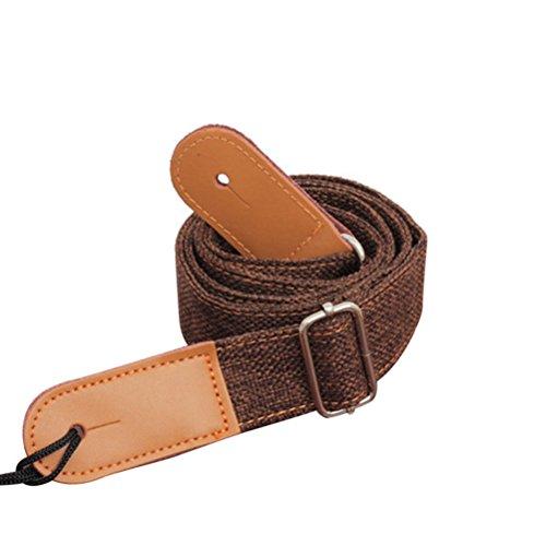 ROSENICE - Correa para ukelele, estilo country, correa de algodón con extremos de piel, para ukelele, bajo, guitarra pequeña (café)