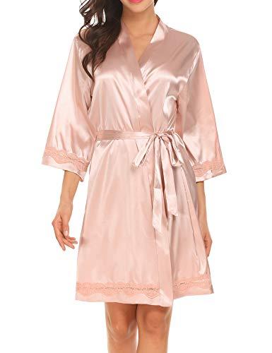 Ekouaer Women's Short Bride Bridesmaid Kimono Robes for Wedding Party(Champagne/M)