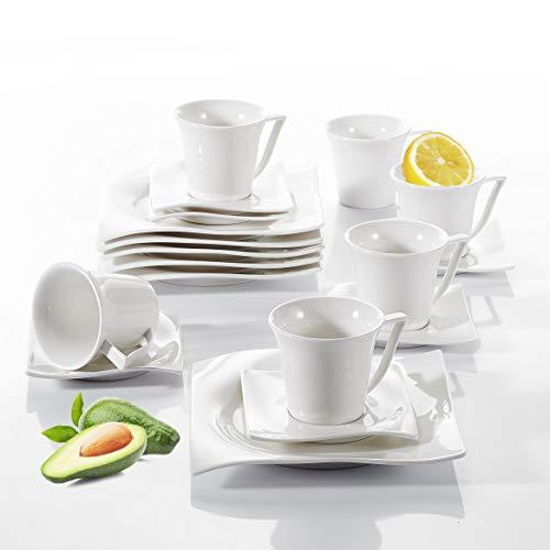 vancasso, série Lolita, Service de Table en Porcelaine Blanche, Assiette Plate, Soucoupe, Tasse à Café pour 6 Persones