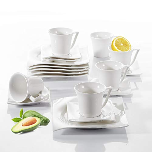 Vancasso Lolita 18 TLG. Porzellan Kaffeeservice, Weißes Kaffeeset für 6 Personen, Beinhaltet Kaffeetassen, Untertassen und Dessertteller