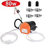 Oil Change Pump Extractor, 12v 80w Marine Oil Change Pump and Electric Oil Pump, Oil/Diesel Fluid Pump Extractor Scavenge Transfer Suction Transfer Pump For Boat,Tubes,Truck, RV,ATV,Riding Mowe