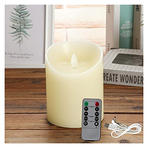 ZHAHAPPY Rechargeable Candles Lights, LED Flameless Candles Smooth Flickering Candle Light With Timer Remote Control For Home Decoration (Color : 1pcs 7.5x10cm RC)