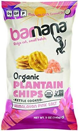 Barnana Organic Plantain Chips Himalayan Pink Salt 5 Ounce Bag Paleo Vegan Grain Free Chips product image
