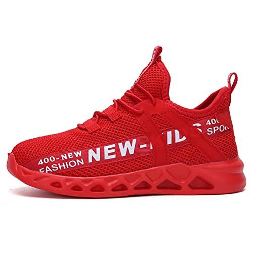 GUOCHENXY Scarpe Bambino Sportive Ginnastica Bambina Tennis Senza Lacci Leggere Sneaker Casual Unisex Bambini Bianche Rosso 31EU