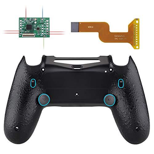 eXtremeRate DAWN2.0 FlashShot Trigger Stop Remap Kit für PS4 CUH-ZCT2 Controller,Hülle Case Gehäuse&Mod-Chip&2 Rücktasten&2 Trigger Lock für Playstation 4 Controller JDM 040/050/055(T-Schwarz)
