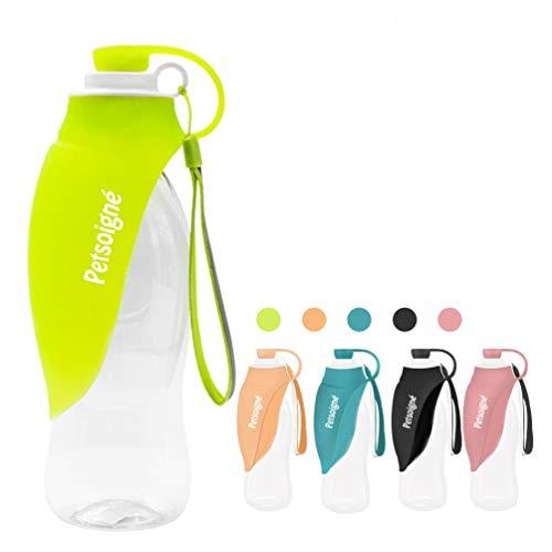 Petsoigné Botella de Agua para Perros Portátil Botella para Perros de Silicona para Salir (Verde)