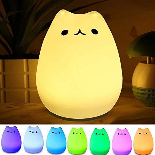 Wandbeleuchtung Wiederaufladbare Touch Control Nachtlichter Weiche Silikon-Multicolor Cat Lampe Flexible Materialien Sensitive-Hahn-Silikon + abs Wandstahler
