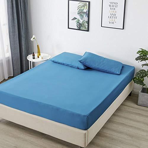 Transpirable Sábana Bajera Protectora de,Sábanas de algodón puro de color sólido, funda protectora antideslizante para cama doble tamaño king en el dormitorio del apartamento azul marino 120x200cm