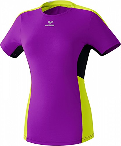 Erima PREMIUM ONE running t-shirt - paars/lime/zwart, Maat: 46