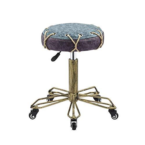 High Stool YZJL Retro-metalen frame, in hoogte verstelbare barkruk, draaibare verdikte make-up-stoel