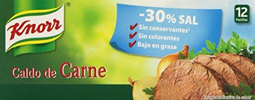 Knorr Pastillas Caldo Suave de Carne, -30% Sal - 12 pastillas