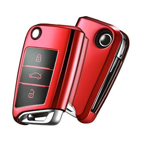 KUNYI Cubierta de Llave de automóviles Remoto Compatible con Volkswagen VW Golf 7 Mk7 Seat Ibiza Leon FR 2 Altea Aztec Compatible con Skoda Octavia Protection Funds (Color : Black Keychain)
