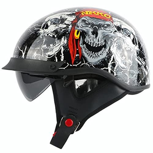 Adultos Retro Casco De Moto Casco Jet Abierto Media Cara Casco De Protección con Visera para Hombre Y Mujer Casco De Moda Cascos Abatibles Retro para A,L