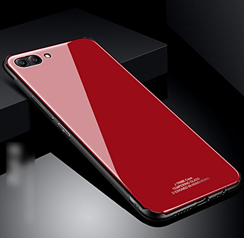 Kompatibel mit Huawei Honor View 10 Hülle,Huawei Honor V10 Hülle,TPU Frame Gehärtetes Glas Back Schutzhülle Hülle Silikon Bumper Hülle Handy Hülle Tasche Schutzhülle für Huawei Honor View 10 Hülle,Rot