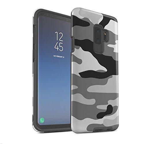 Mat hoesje voor Samsung Galaxy S9 Plus/G965 leger/camouflage, wit, 2 designmatten, schokbestendig, harde beschermhoes voor mobiele telefoon