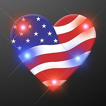 Light Up Heart of America Flashing Blinking LED Body Light Lapel Pins  5-Pack