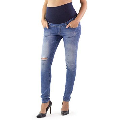 MAMAJEANS Milano Deluxe - Umstands Slim-Fit-Jeans begleitet Sie durch die gesamte Schwangerschaft! superelastische, Wiederverwendbare Jeans nach der Lieferung - Made in Italy (DE 36 - S, Used)