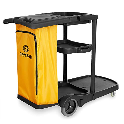 Dryser Commercial Janitorial Cleaning Cart on Wheels - Housekeeping Caddy with Cover, Shelves and Vinyl Bag